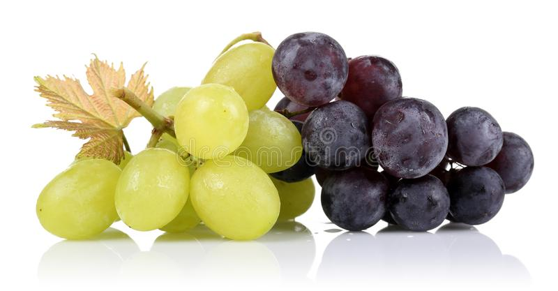 Bunch of green grapes and black grapes royalty free stock photos