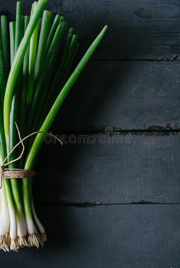 Bunch of green young scallions with roots on a black dark background of the old wooden boards vintage to. P view, agriculture concept, beetroot onion on cooking royalty free stock photography