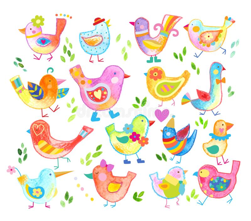 Lots of fun and sweet birds in bright colors royalty free illustration