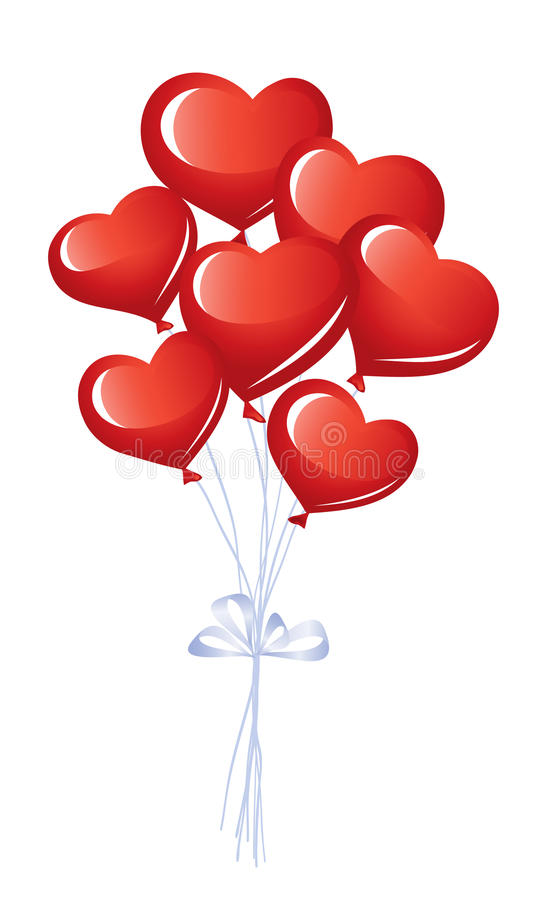 Download Bunch of heart balloons stock vector. Image of carnival - 22999431