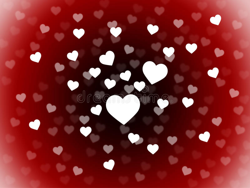 Bunch Of Hearts Background Shows Romance Passion And Love stock illustration