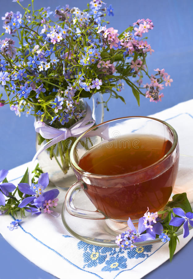 Download Bunch in a jar and tea stock image. Image of herb, dark - 22967843