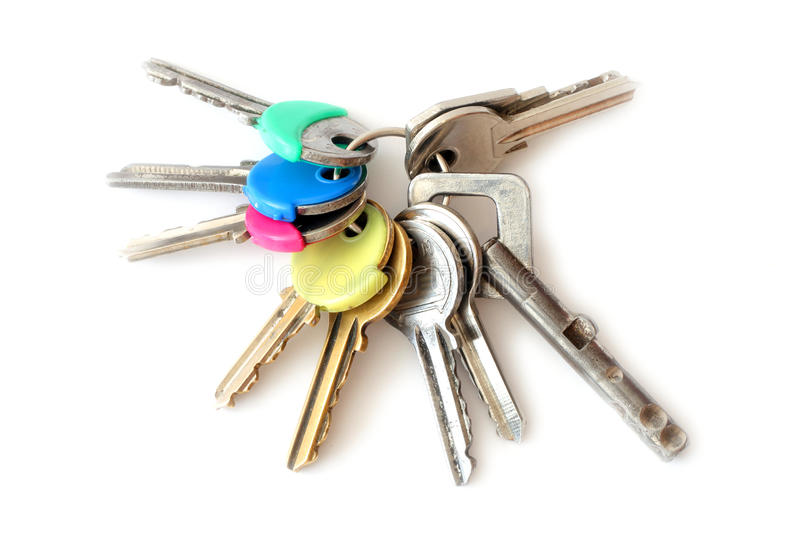 Bunch of keys. Isolated over white background royalty free stock image