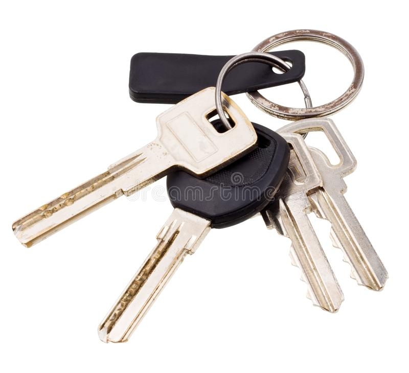 Bunch of keys. With electronic key isolated on white background royalty free stock photography