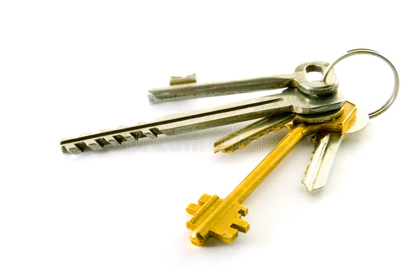 Bunch of keys. Isolated on white stock photos
