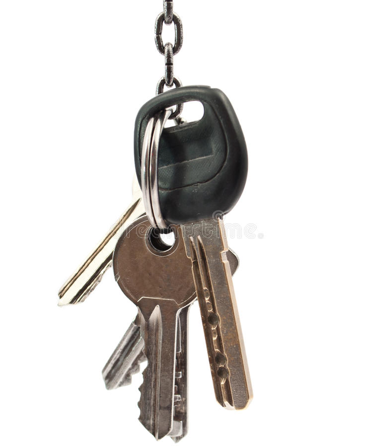 Bunch of keys. On a white background royalty free stock image