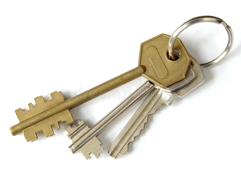 Bunch of keys. On white royalty free stock photography