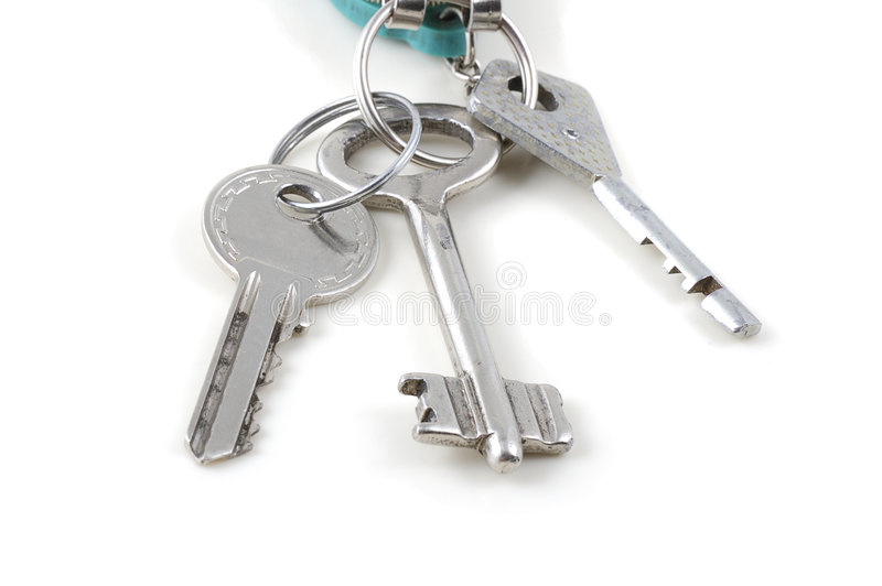 Bunch of keys. Isolated on white background royalty free stock photo