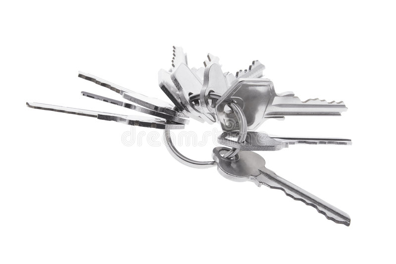 Bunch of Keys. On White Background stock photo