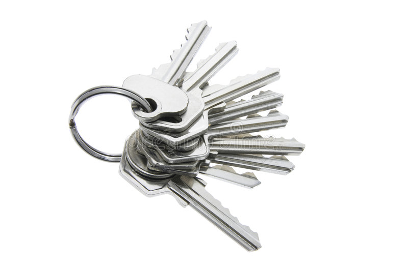 A Bunch of Keys. On Isolated White Background royalty free stock images