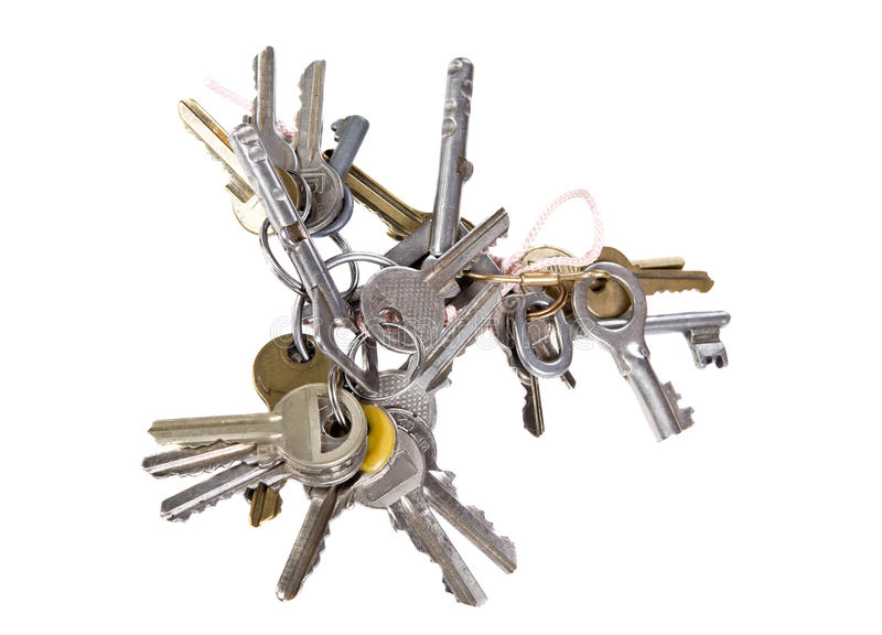 Bunch of keys. On white background stock image