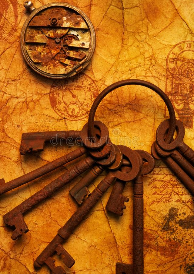 Download Bunch Of Keys With A Gears On The Old Paper. Stock Image - Image: 20316003