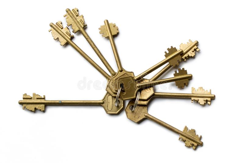 Bunch of keys isolated on white background royalty free stock photography