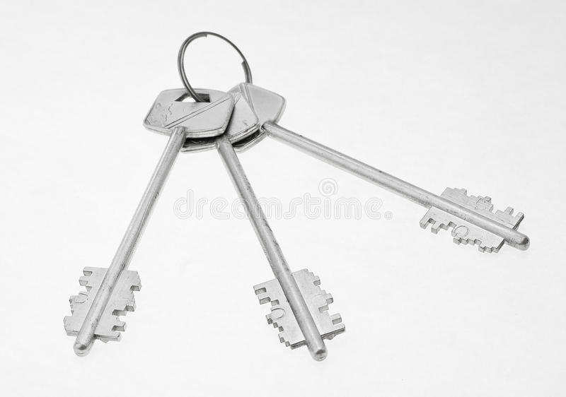 Bunch of keys. Isolated on white background bunch of keys stock image
