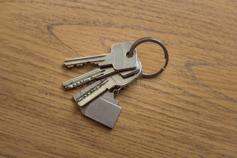 A bunch of keys that lie on the table royalty free stock photo