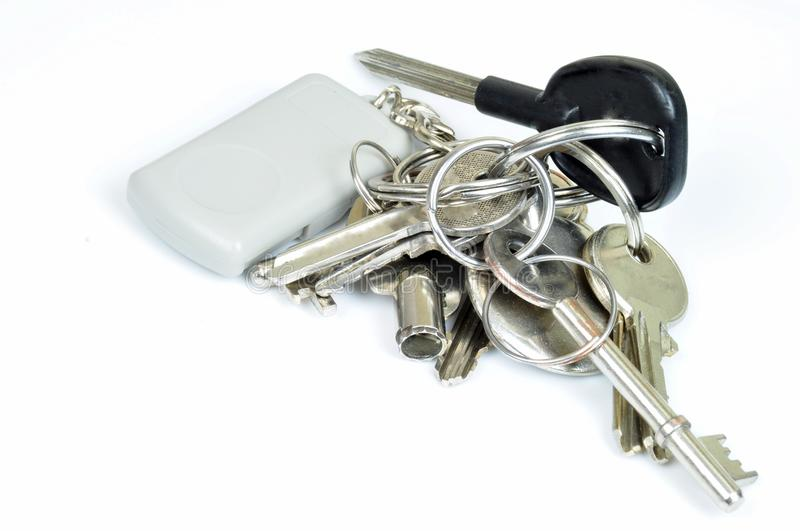 Bunch Of Keys. A bunch of keys on white background stock image