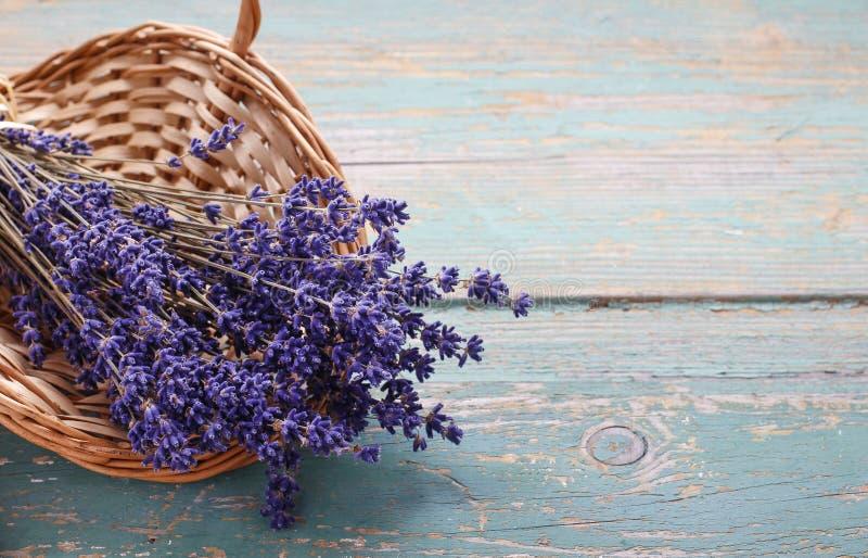 Bunch of lavender in wicker basket stock image