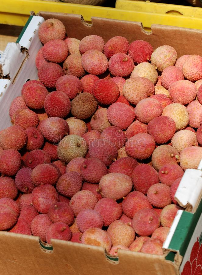 Sweet lychee in a Mexican market royalty free stock photos