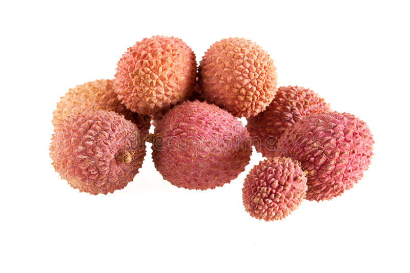 Bunch Of Lychees On White Background stock photos
