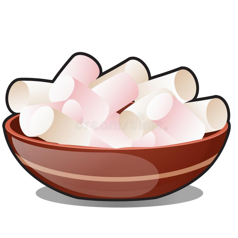 A bunch of marshmallows in a clay bowl isolated on white background. Vector cartoon close-up illustration. royalty free illustration