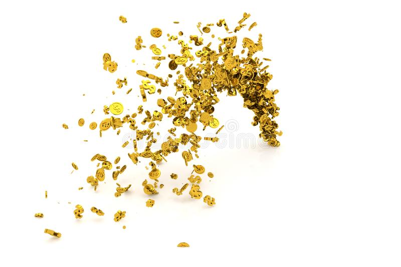 Bunch of money, gold, dollar sign or coins flow from the floor, modern style background or texture. royalty free illustration