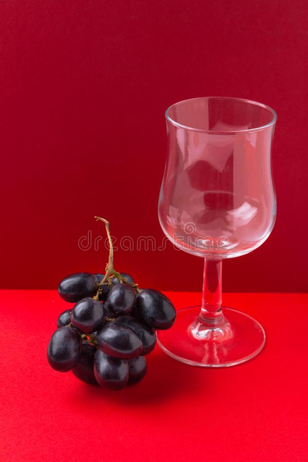 Bunch of moon drops dark purple grapes drinking glass on duotone red crimson burgundy background. Wine production harvest. Local artisan produce concept royalty free stock photo