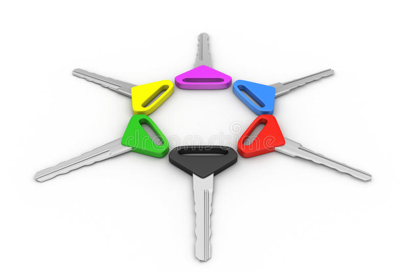 Bunch of multi-coloured keys stock illustration
