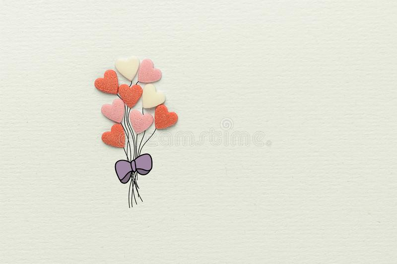 Bunch of Multicolored Balloons in Heart Shape Made of Sugar Candy Sprinkles Hand Drawn Strings Bow on White Watercolor Paper stock image