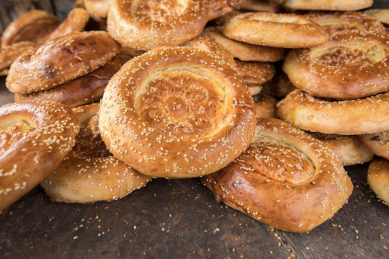 Bunch of naan flat breads. Closeup royalty free stock image
