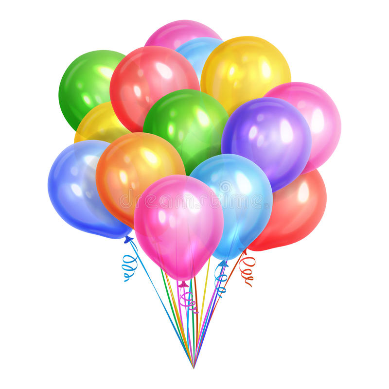 Free Bunch Of Realistic Colorful Helium Balloons Isolated On White Royalty Free Stock Photography - 91151627