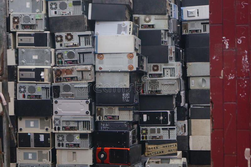 A bunch of old computer hosts. Are recycled, in Xixiang, Shenzhen, china stock photos
