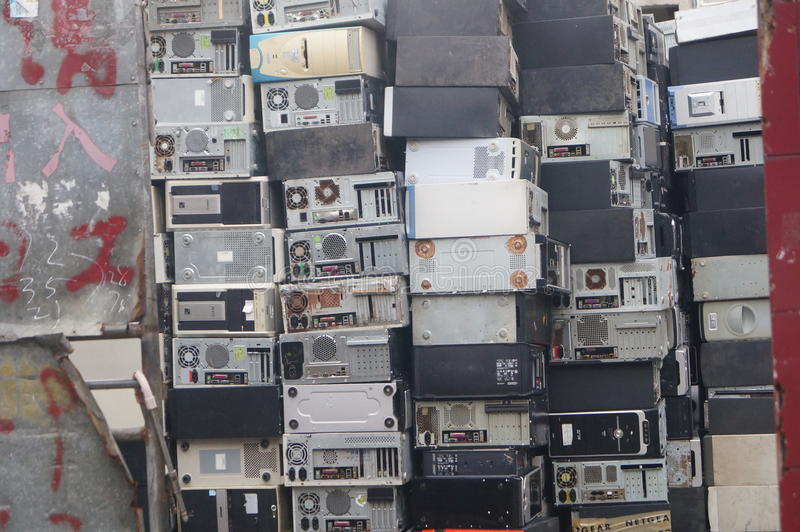 A bunch of old computer hosts. Are recycled, in Xixiang, Shenzhen, china stock image