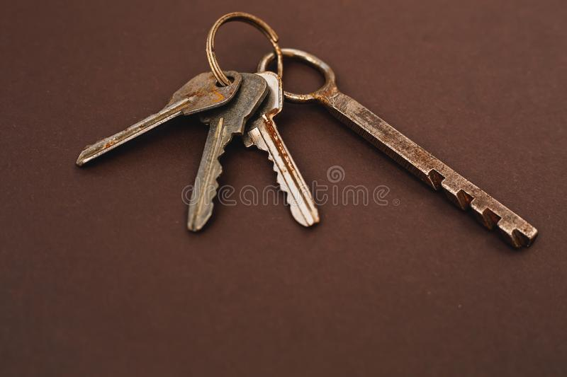 Bunch of old keys. On gray royalty free stock photography