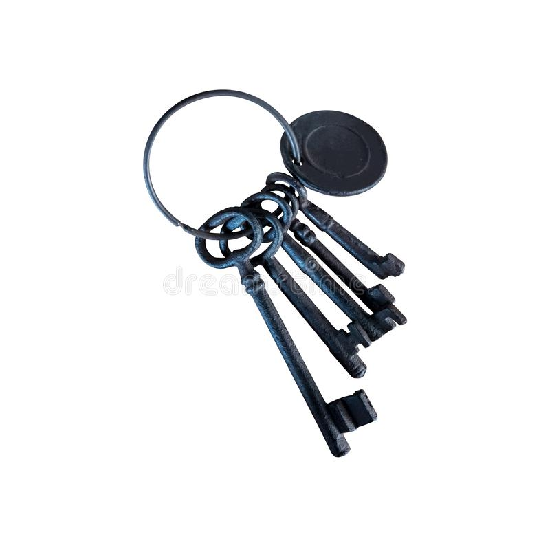 Bunch of old keys isolated on white background royalty free stock images