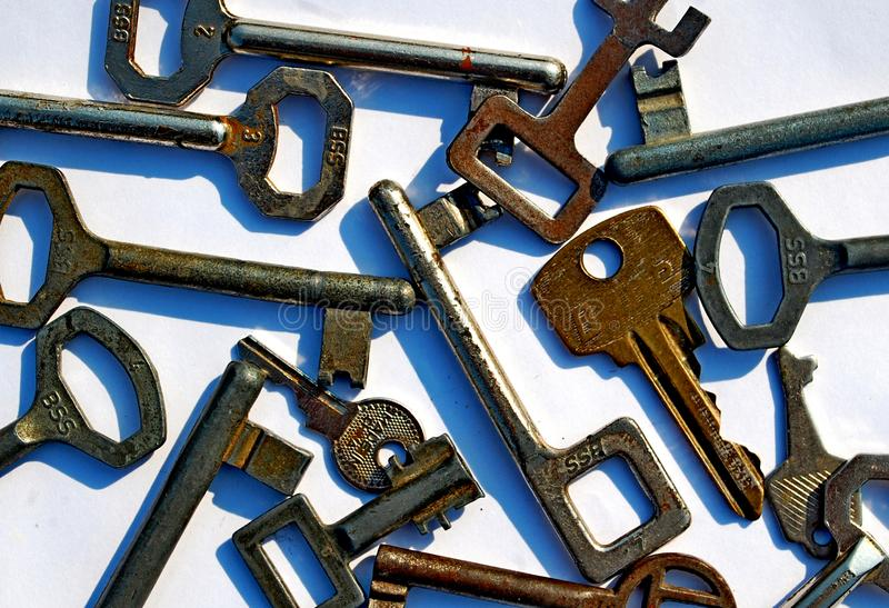 Bunch of old rusty keys royalty free stock image