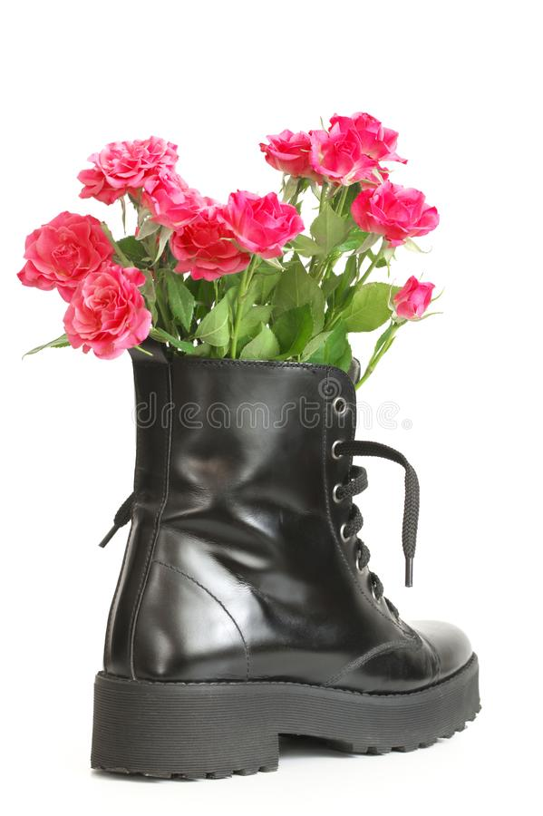 Bunch of pink roses in black combat boot. Bunch of pink rose flowers in black combat boot isolated on white background royalty free stock photo