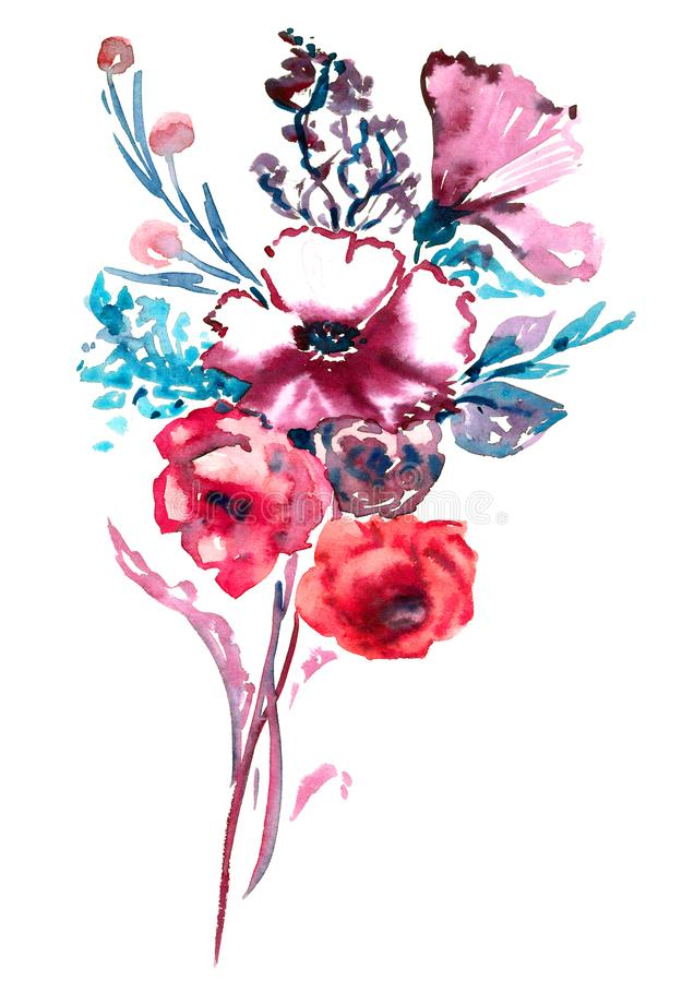 Bunch of pink roses flowers and wild mallow, blue leaves and berries vector illustration