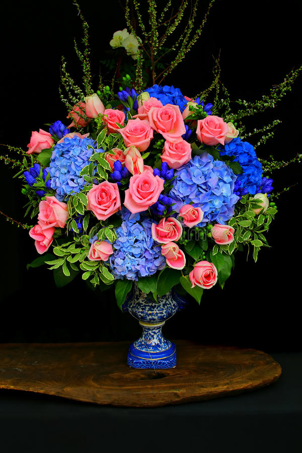 Bunch of pink roses and hydrangea flowers royalty free stock images