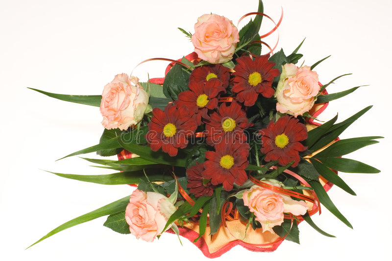 Bunch of pink roses and red flowers