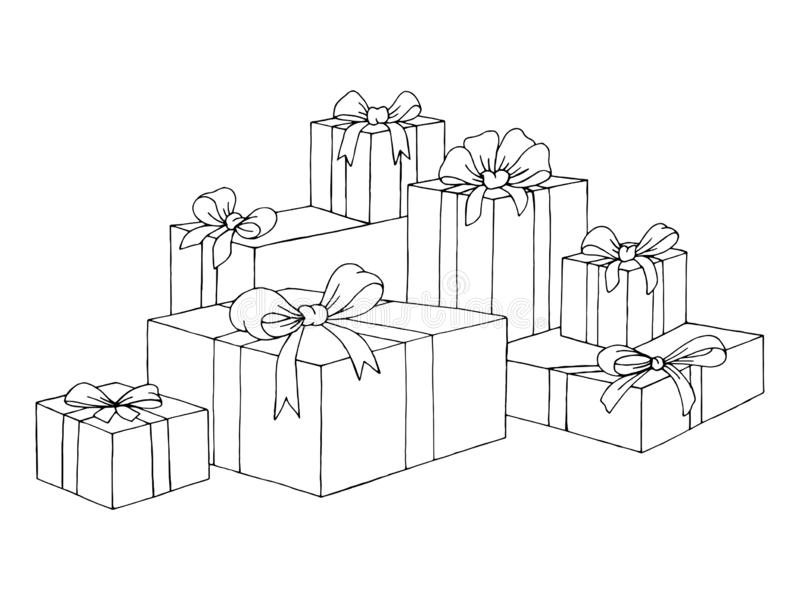Bunch of present box gifts with bows graphic art black white isolated sketch illustration vector. Bunch of present box gifts with bows graphic art black white vector illustration