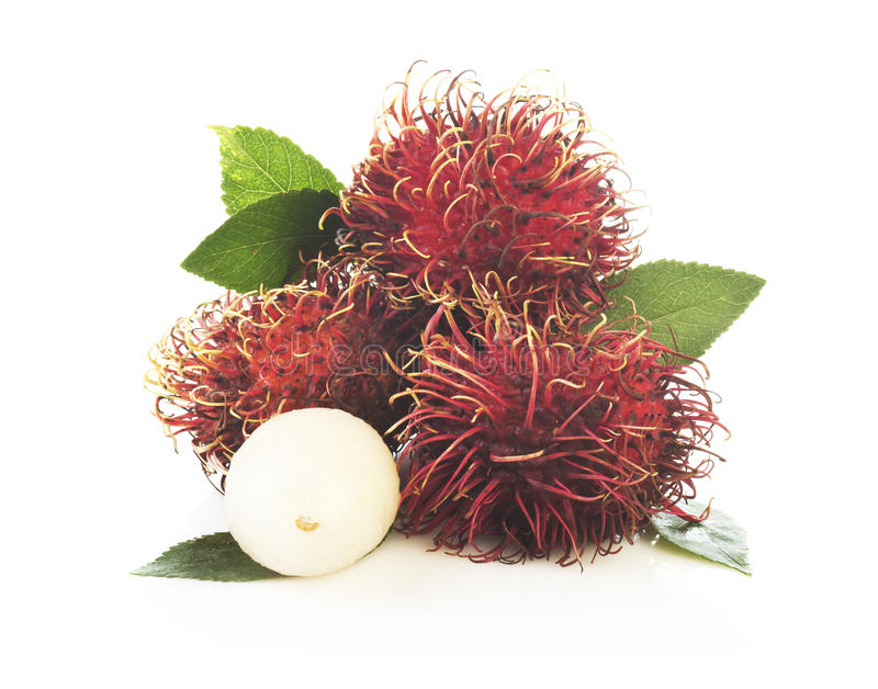 Bunch of rambutan isolated on white background stock photography