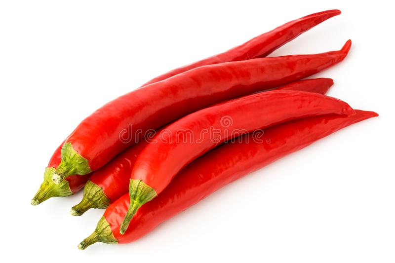 A bunch of red chili peppers on a white. royalty free stock photos