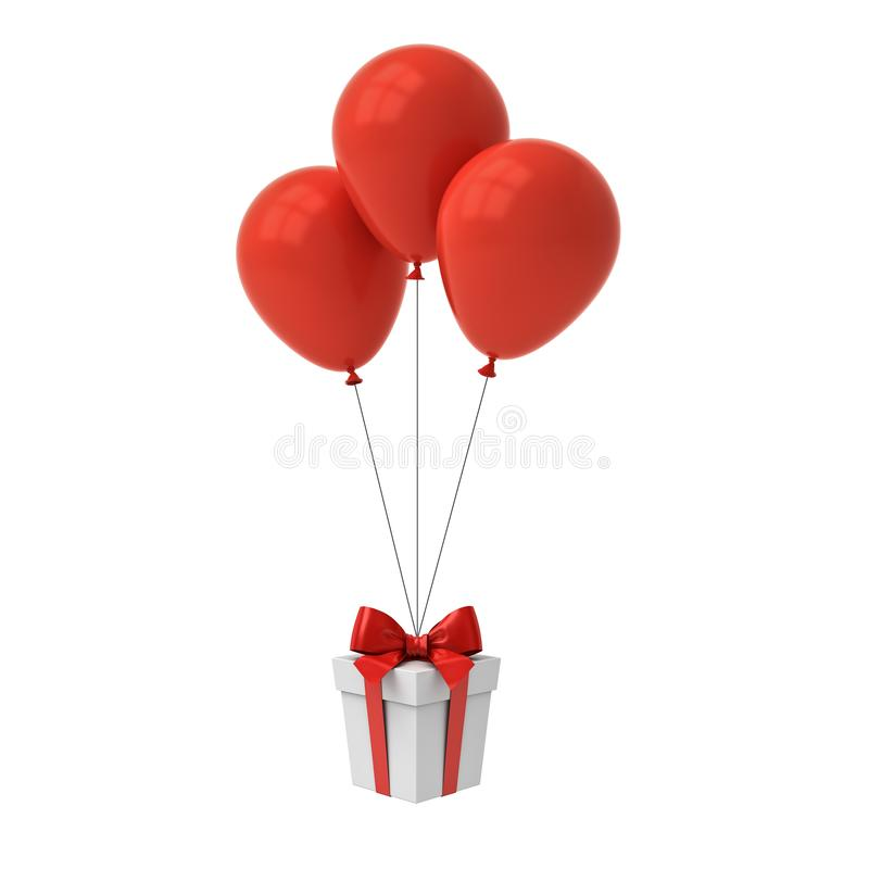 Bunch of red glossy balloons tied to gift box or present box with red ribbon and bow isolated over white royalty free illustration