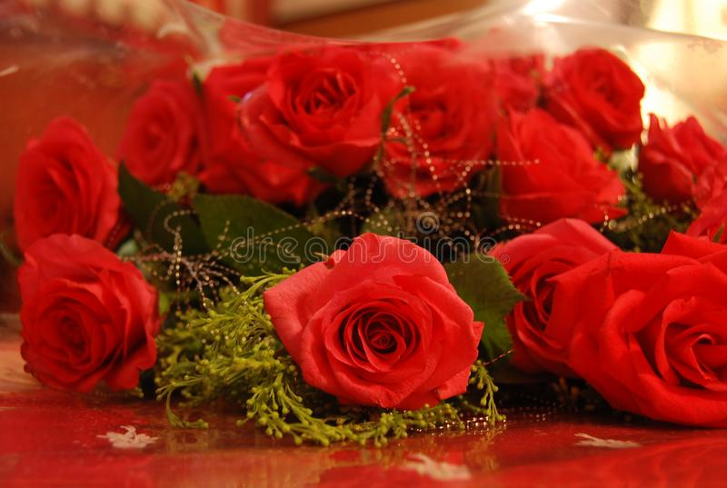 A bunch of red roses stock image