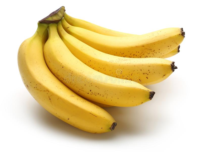 Bunch of ripe bananas isolated on white stock images