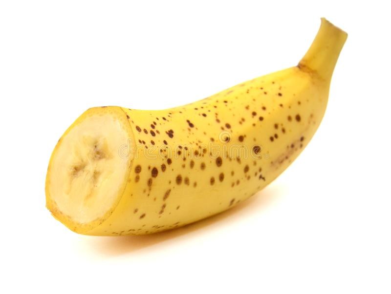 A bunch of three ripe bananas. Close-up. White isolated background. stock image