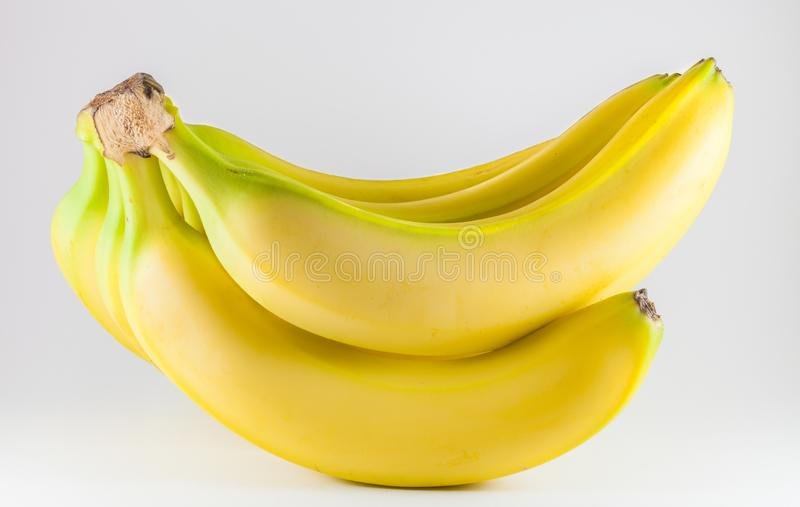 Bunch of ripe fresh bananas isolated on white background stock images
