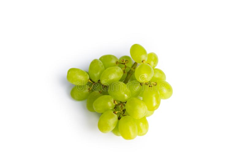 Bunch of ripe green grapes isolated on white background royalty free stock image