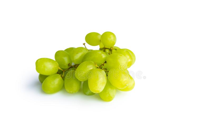 Bunch of ripe green grapes isolated on white background stock images