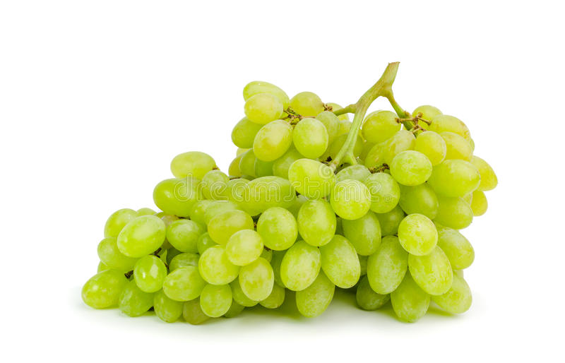 Bunch of ripe and juicy green grapes on a white background stock photo